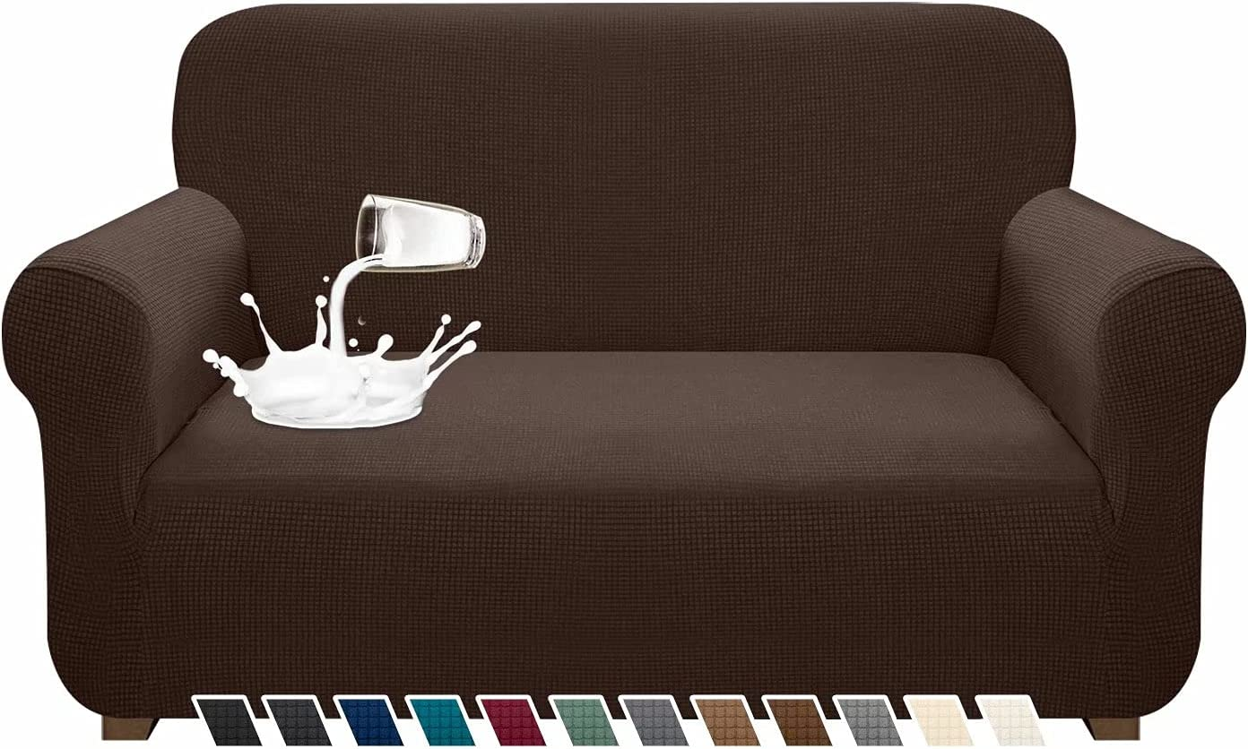 Pitpet Premium Water-Repellent Sofa Cove High Stretch Couch Cover for Loveseat Couch Super Soft Sofa Slipcover Washable Furniture Protector for Dog, Cat and Pets (Medium, Chocolate)