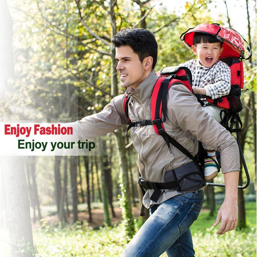 Baby toddler Hiking Backpack Carrier with Raincover Child Kid Sun canopy Shield (Green) SD LIFE