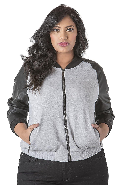 Poetic Justice Plus Size Curvy Women's Vegan Leather Long Sleeve Bomber Jacket