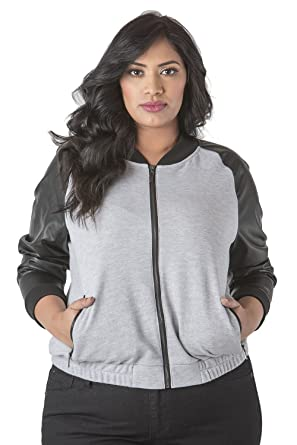 e7b52146e57 Poetic Justice Plus Size Curvy Women s Vegan Leather Long Sleeve Bomber Jacket  Size 2X Grey