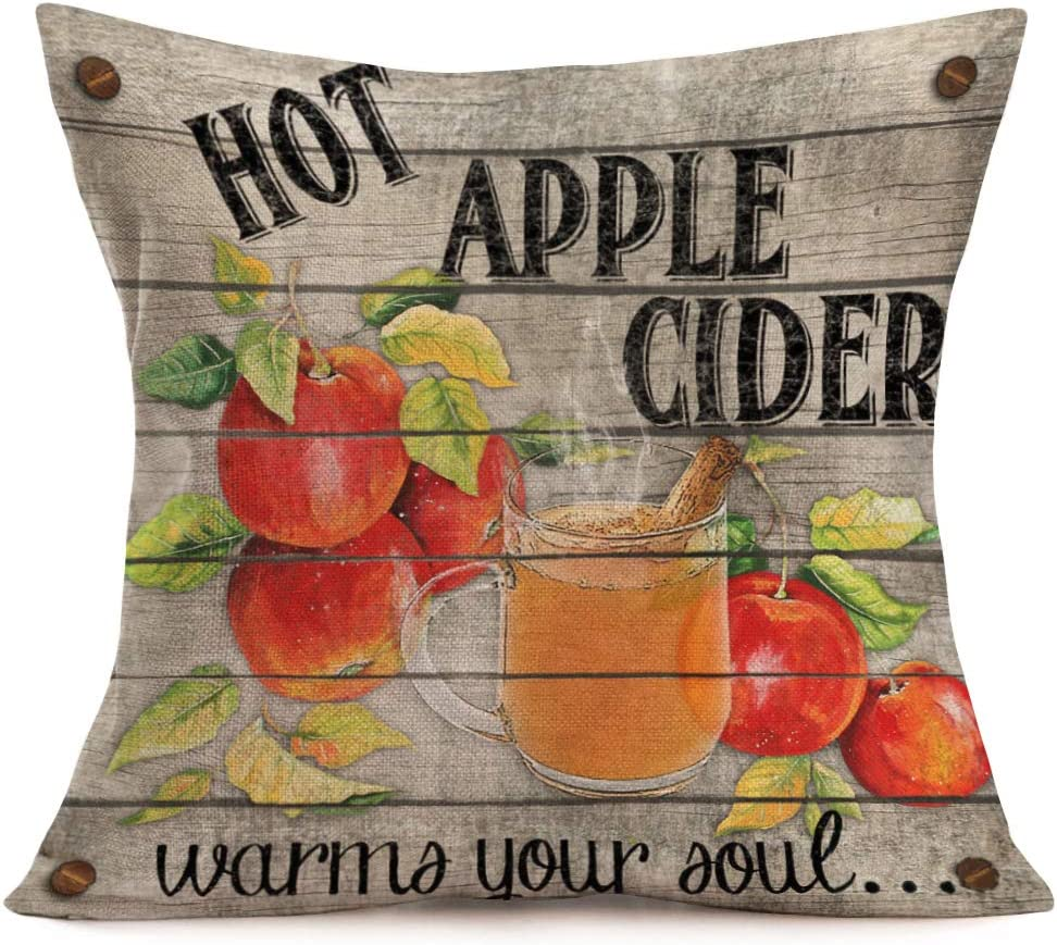 Smilyard Vintage Wooden Apple Print Pillow Covers FruitCotton Linen Hot Apple Cider Words Decorative Throw Pillow Cushion Cover Square Home Sofa Bedroom Pillowcase 18x18 Inch(Apple Cider)