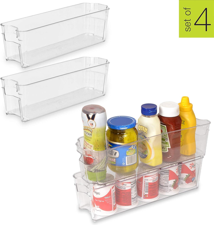 Smart Design Stackable Refrigerator Bin w/Handle - BPA Free Polyethylene - for Fridge, Freezer, Pantry Organization - Kitchen (4 x 15 Inch) [Clear] - Set of 4