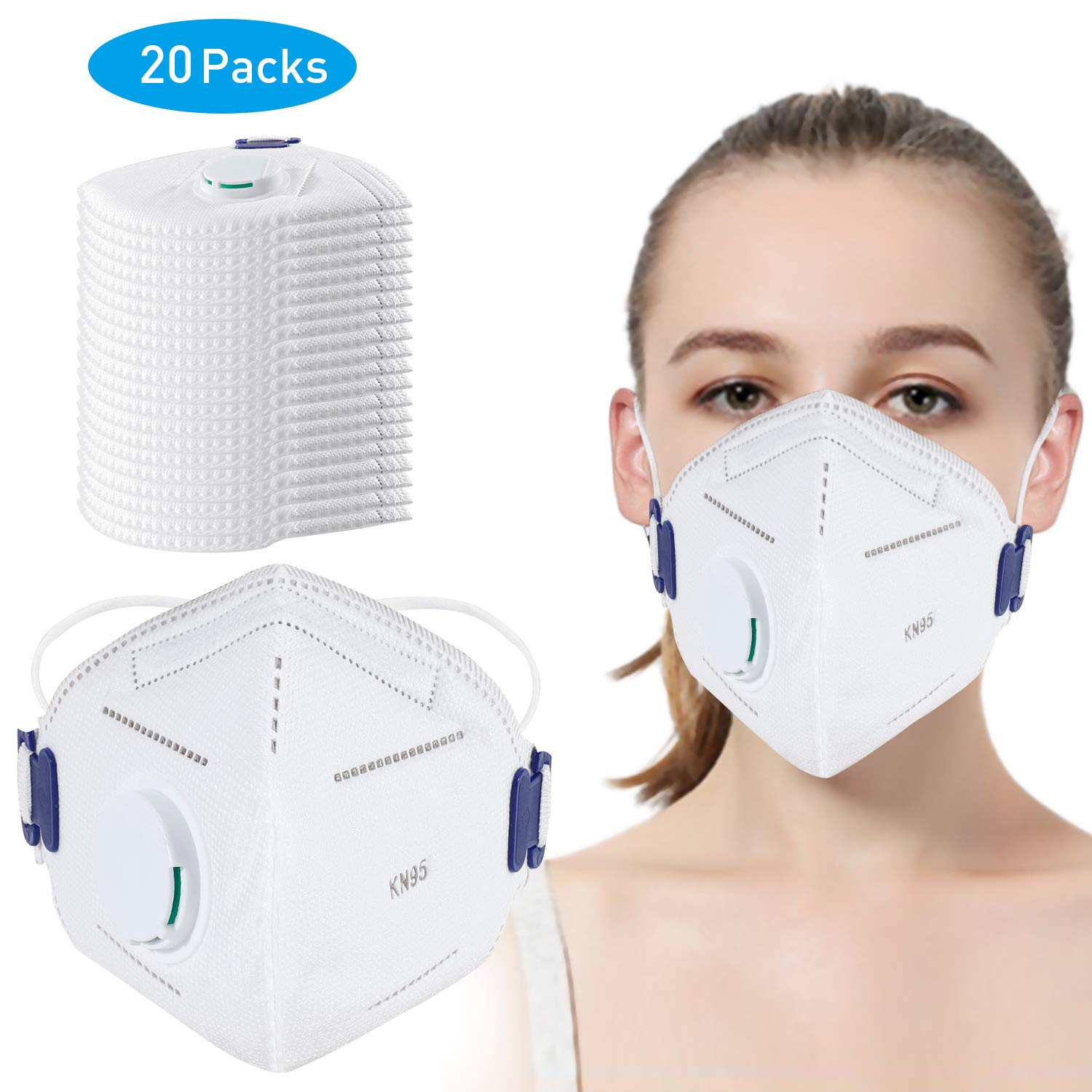Disposable Dust Mask, N95 Particulate Respirator Masks with Breathing Valve (20 pack) - Anti-Dust,Air Pollution,Smoke,Safety Face Mask for for Construction,DIY,Home,Outdoor Use