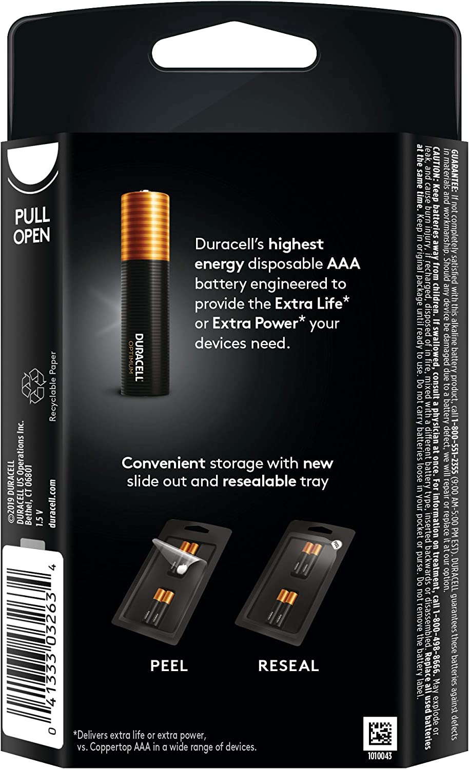 Duracell Optimum AAA Batteries Resealable Package Premium Triple A 1.5V Alkaline Battery 12 Count Made in The USA Convenient
