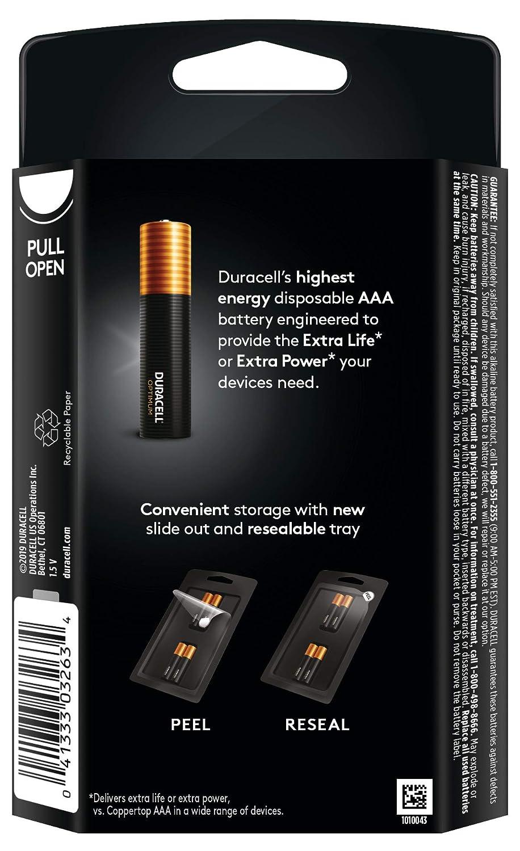 Convenient Resealable Package Duracell Optimum 1.5V Alkaline AAA Batteries