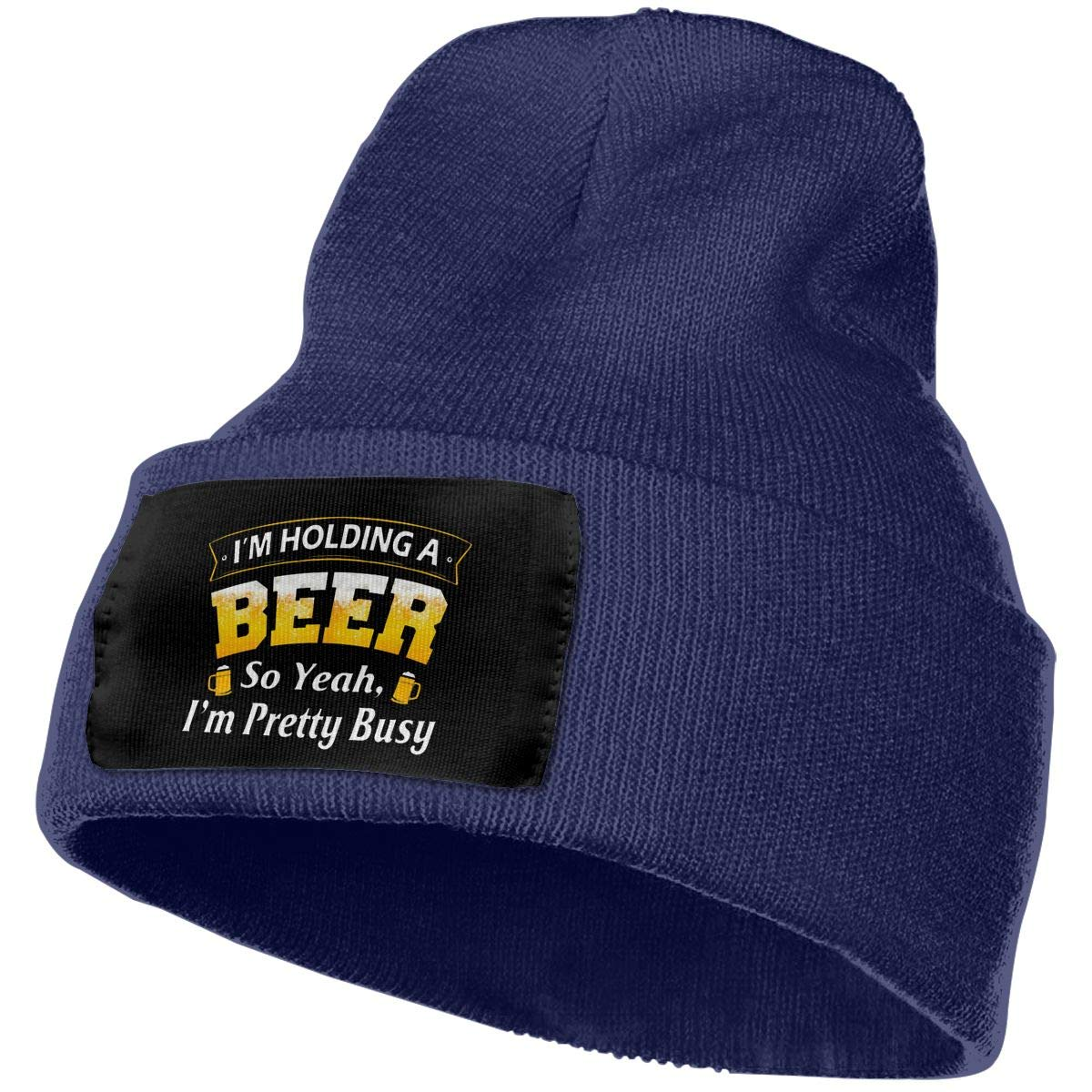 Im Holding A Beer So Yeah Im Pretty Busy Unisex 3D Knitted Hat Skull Hat Beanie Cap