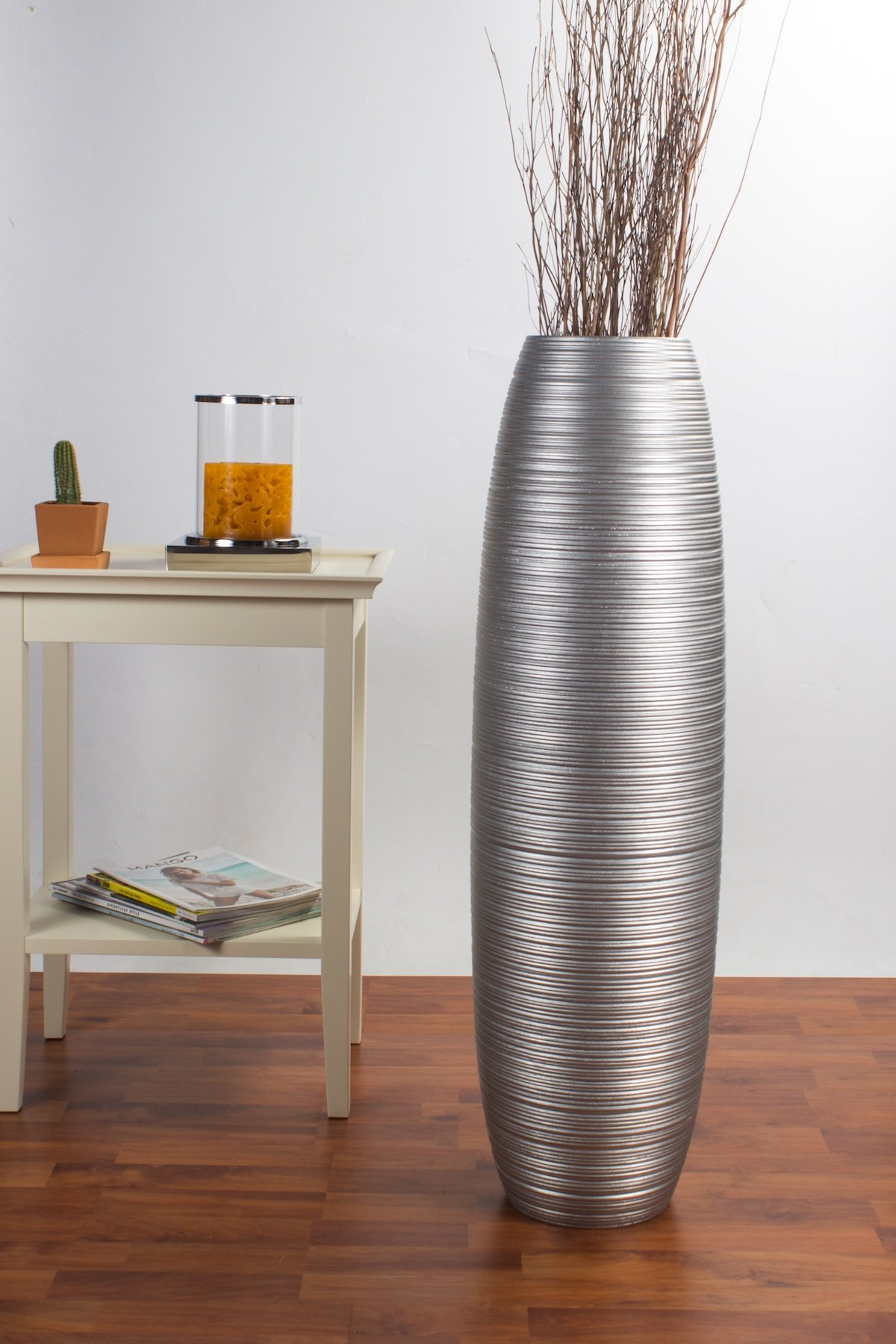 Tall Floor Vase 36 inches, Wood, Silver