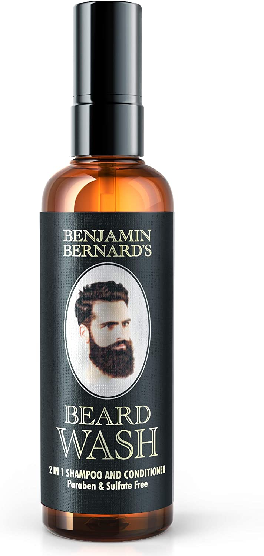 Benjamin Bernard - Champú para barba 2 en 1 - Champú y acondicionador - 100 % aceites naturales - Sin parabenos ni sulfitos - 100 ml