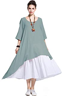 599b7be10f7 Anysize Fake Two Piece Linen Cotton Dress Spring Summer Plus Size Dress Y111