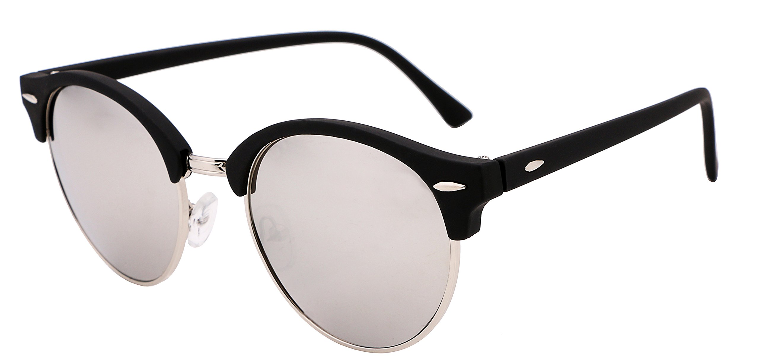 FEISEDY Classic Semi-rimless Round Frame Plastic Lens Sunglasses for Men Women B1882 by FEISEDY (Image #1)