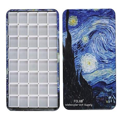 Fclub Watercolor Tins Paleta de pintura - Caja de lata con 40 medias sartenes