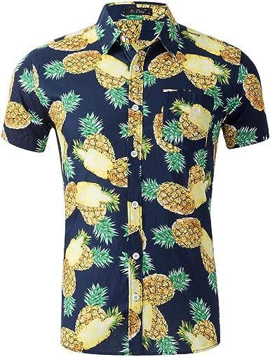 AIDEAONE - Camisa de manga corta para hombre, diseño de piña, flamenco, color azul: Amazon.es: Ropa y accesorios