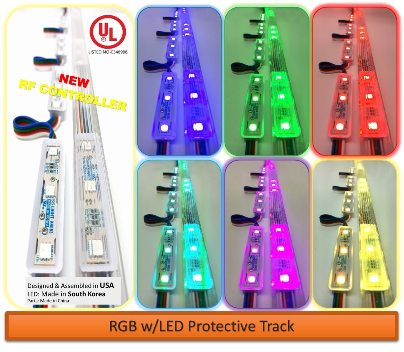 Storefront Window LED Lights Kit with Protective Tracks for Indoor & Outdoor Plug in Light (Multi-colored 25ft)