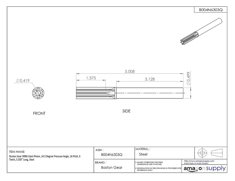 Steel 16 Pitch 5.250 Long Boston Gear NBR8 Stem Pinion 8 Teeth 14.5 Degree Pressure Angle