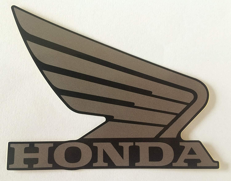 Honda Wings Fuel Tank Gas Tank Stickers Decals 2 x 95mm Metallic Grey /& Black Left /& Right 100/% GENUINE