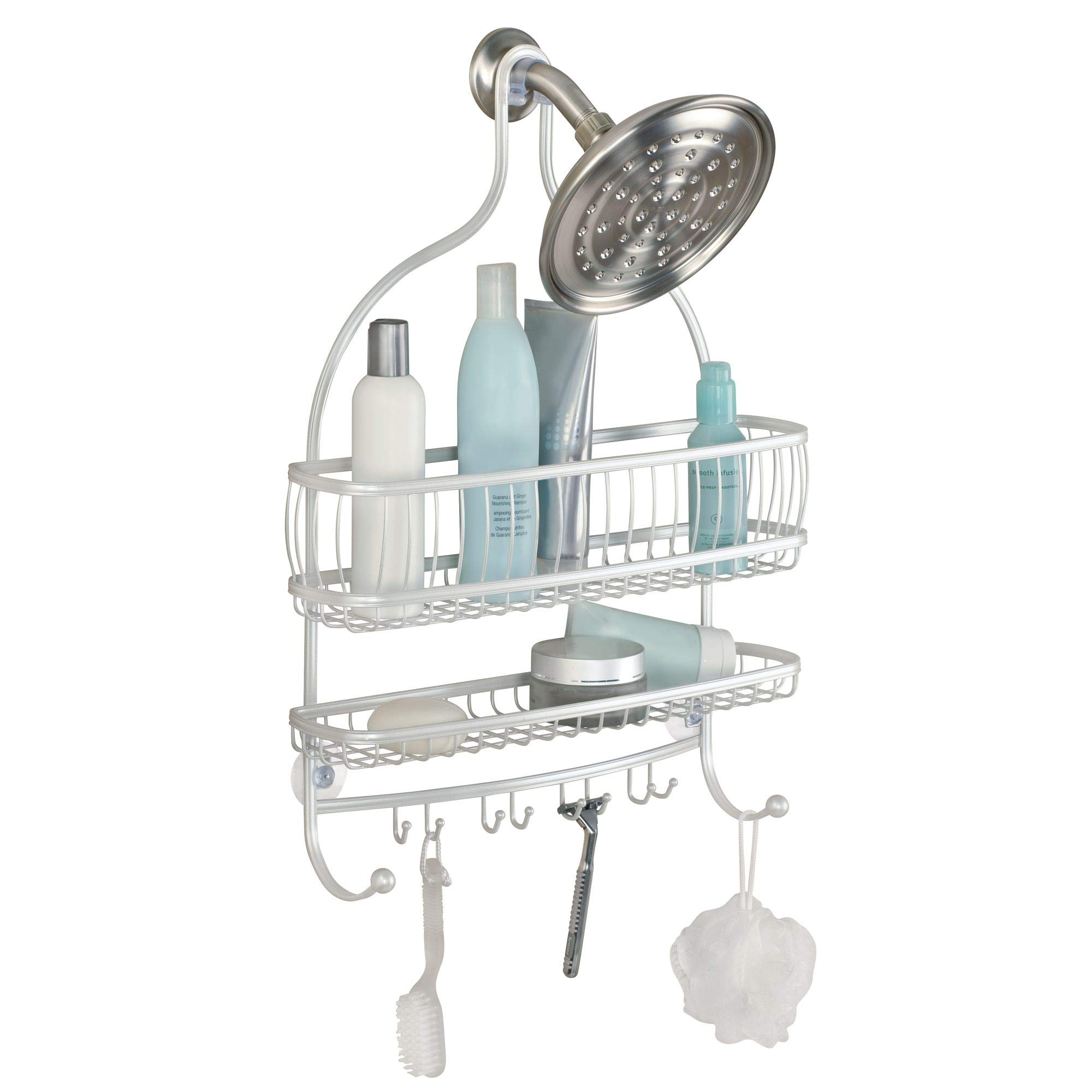 """CDM product iDesign York Metal Extra Wide Hanging Shower Caddy for Shampoo, Conditioner, and Soap with Hooks for Razors, Towels, Loofahs, and More, 16"""" x 4"""" x 22"""" - Pearl White big image"""