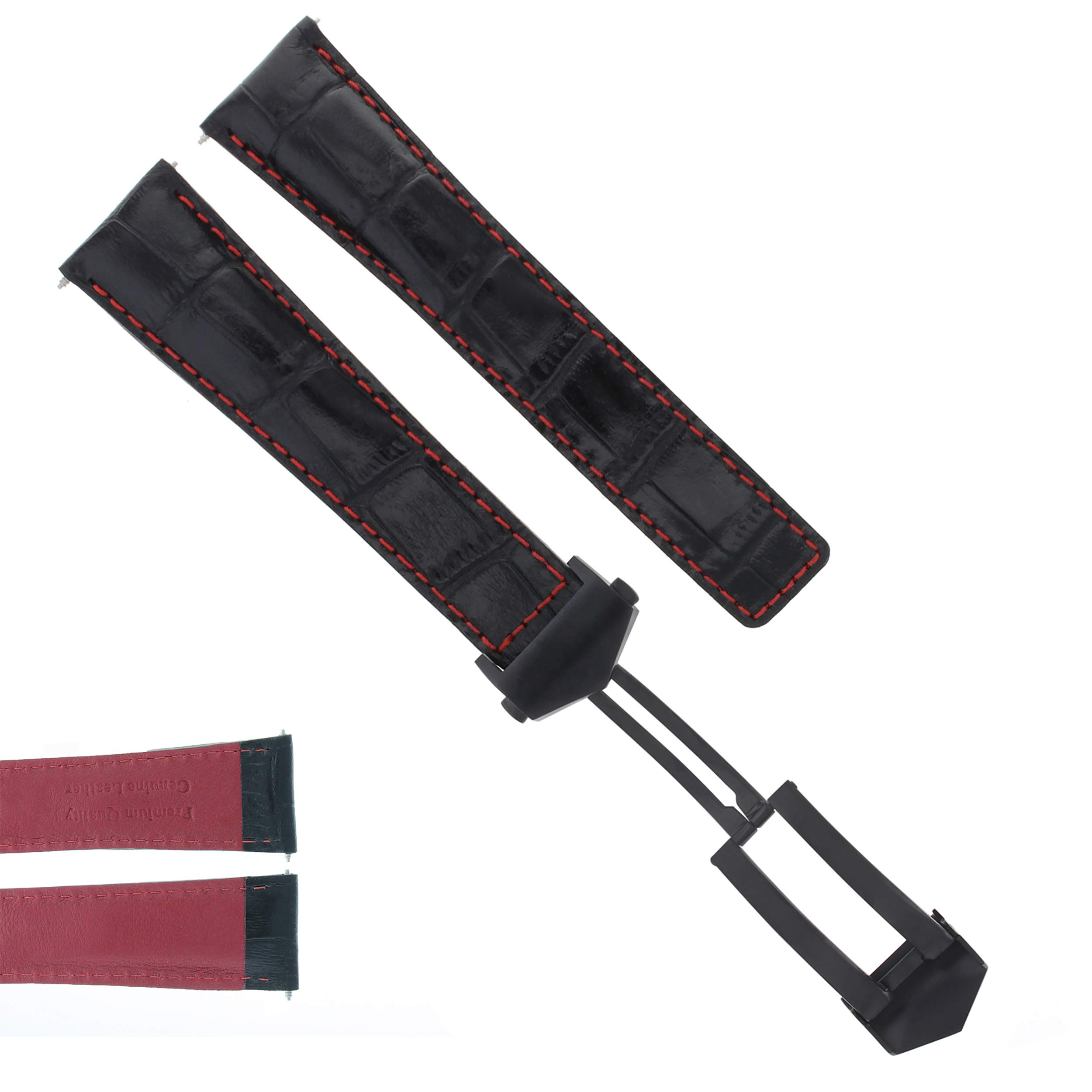 22MM Leather Strap Band Clasp for TAG HEUER Calibre 36 Black RED Stitch 3TCB