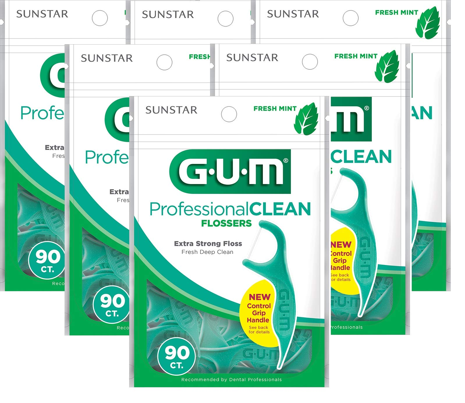 Gum Professional Clean Flossers, Fresh Mint 90 ea (Pack of 6) by Gum