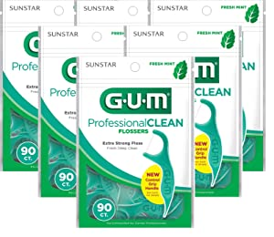 Gum Professional Clean Flossers, Fresh Mint 90 ea (Pack of 6)