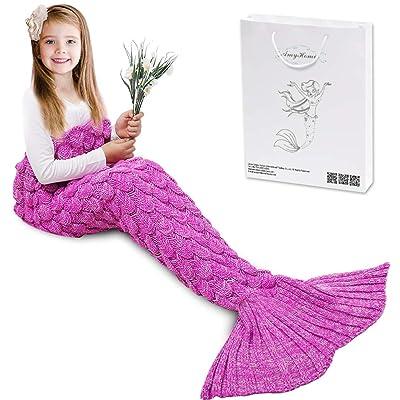 AmyHomie Mermaid Tail Blanket, Mermaid Blanket Adult Mermaid Tail Blanket, Crotchet Kids Mermaid Tail Blanket for Girls (ScalePink, Kids): Home & Kitchen