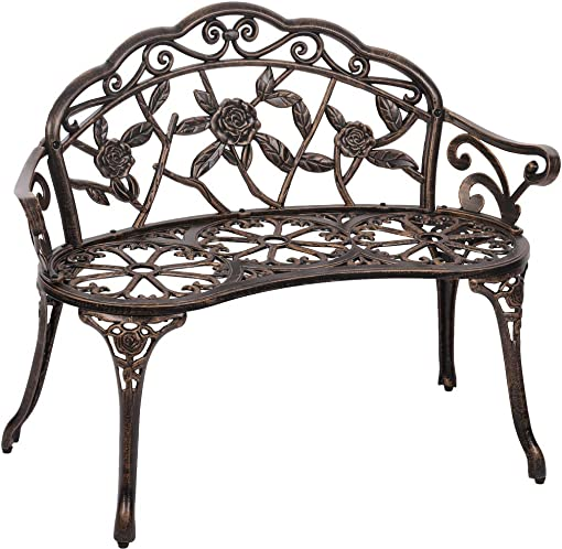 FDW Garden Bench Park Bench Metal Bench Outdoor Benches Patio Yard Bench Floral Rose Accented Bronze