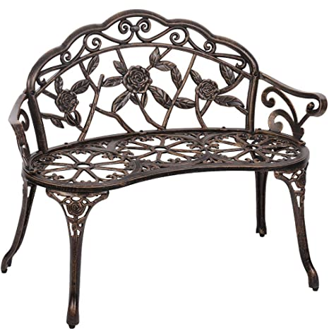 Groovy Garden Bench Park Bench Metal Bench Outdoor Benches Patio Yard Bench Floral Rose Accented Bronze Pabps2019 Chair Design Images Pabps2019Com