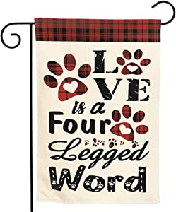 Granbey Love is a Four Legged Word Garden Flag Buffalo Plaid Paw Print Double Sided Small Garden Flags Yard Decoration Funny Pet Puppy Decorative Home Flag Seasonal Outdoor Flag