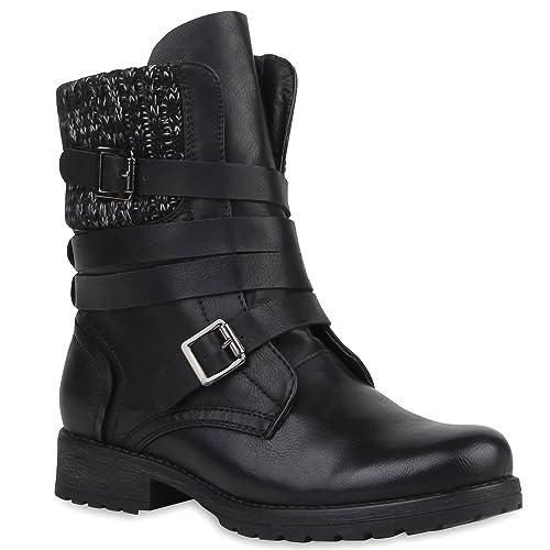 Stiefeletten Mit Strick Flandell Blockabsatz Schnallen Damen Stiefelparadies Biker Boots vn80mNw