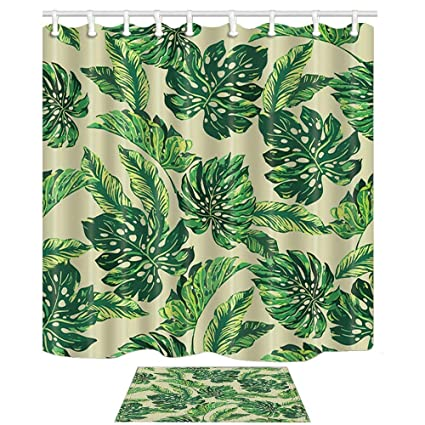 Yaoni Summer Plants DecorTropical Banana Leaves Monstera Trees Mildew Resistant Polyester Fabric Shower