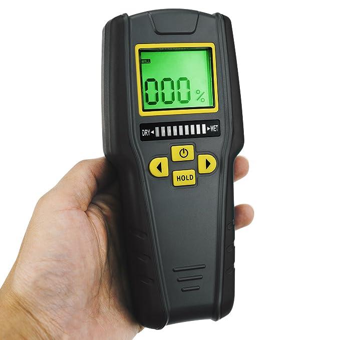4 en 1 sin pin medidor de humedad, LCD digital con tricolor Gráfico de barras para drywall, albañilería, madera blanda y madera dura con calibración ...