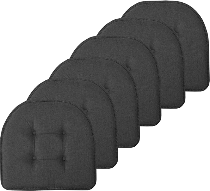 "Sweet Home Collection Chair Cushion Memory Foam Pads Tufted Slip Non Skid Rubber Back U-Shaped 17"" x 16"" Seat Cover, 6 Pack, Charcoal Gray"