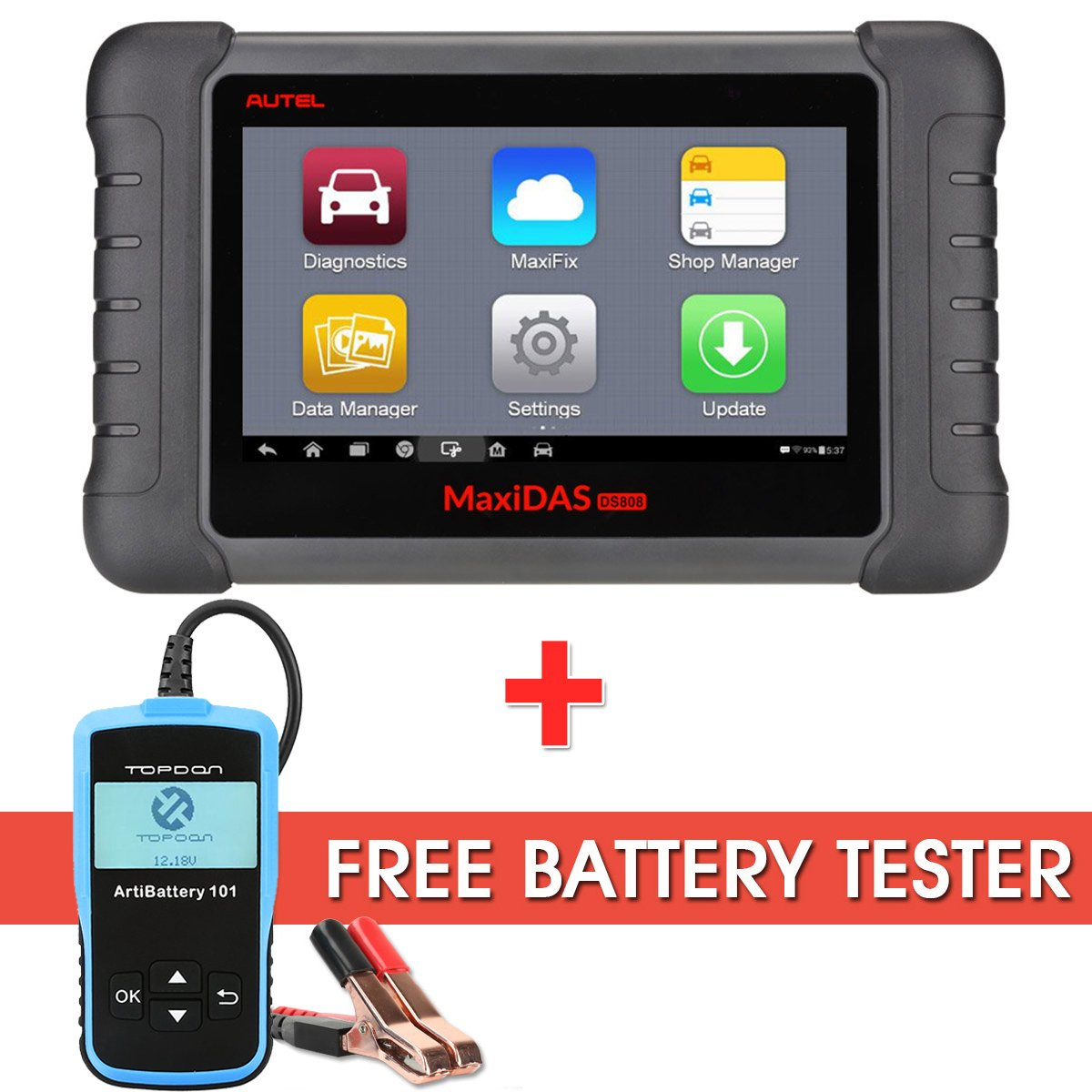 Autel DS808 OBD2 Diagnostic Scanner MaxiDAS OE-Level Coverage Key Coding and Wi-Fi Support Coding Tool with Free Battery Tester