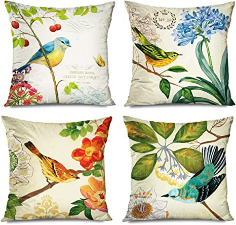 Amazon Com Fareyy Decorative Set Of 4 Throw Pillow Covers 16x16 Inch Nature Inspired Vintage Butterfly Blue Flower Bird Retro Country Jacquard Tree Red Fruits France Paris Yellow Pillowcases Decor Cushion Cases Home