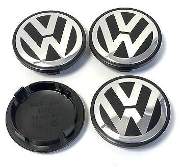 X4 alta calidad Volkswagen 70 mm aleación rueda insignia emblema de Negro y Plata centro HUB ...