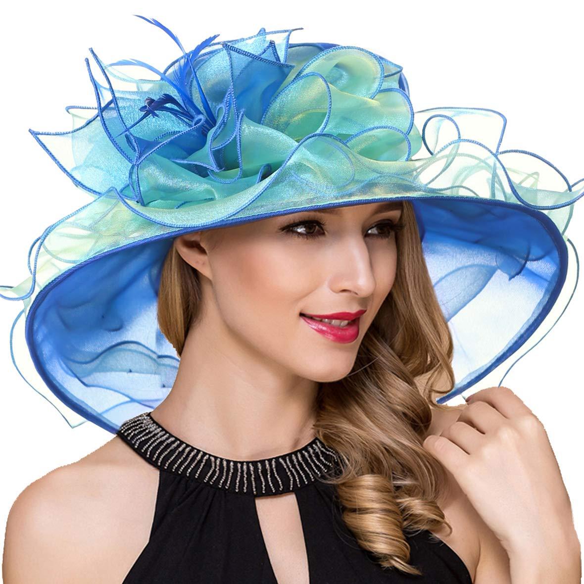 Women Kentucky Derby Church Dress Fascinator Wide Brim Tea Party Wedding Organza Hats S042b (S037-Blue)
