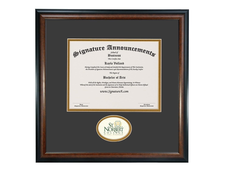 Signature Announcements St-Norbert-College Undergraduate Professional//Doctor Sculpted Foil Seal Graduation Diploma Frame 16 x 16 Matte Mahogany