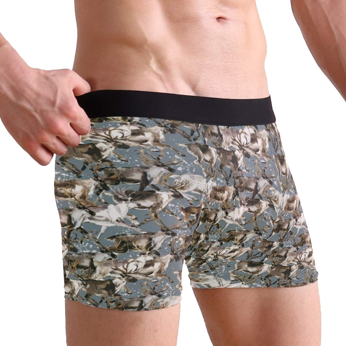 CATSDER Caribou Watercolor Reindeer Boxer Briefs Mens Underwear Pack Seamless Comfort Soft