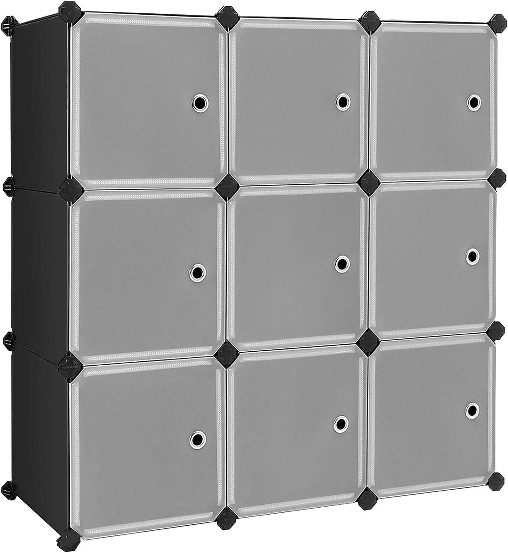 SONGMICS Estantería Modular, Armario Modular de 9 Cubos, Estantería de Plástico con Puertas, para Zapatillas, Ropa, Juguetes, Libros, Fácil de Montar, Negro LPC116HS