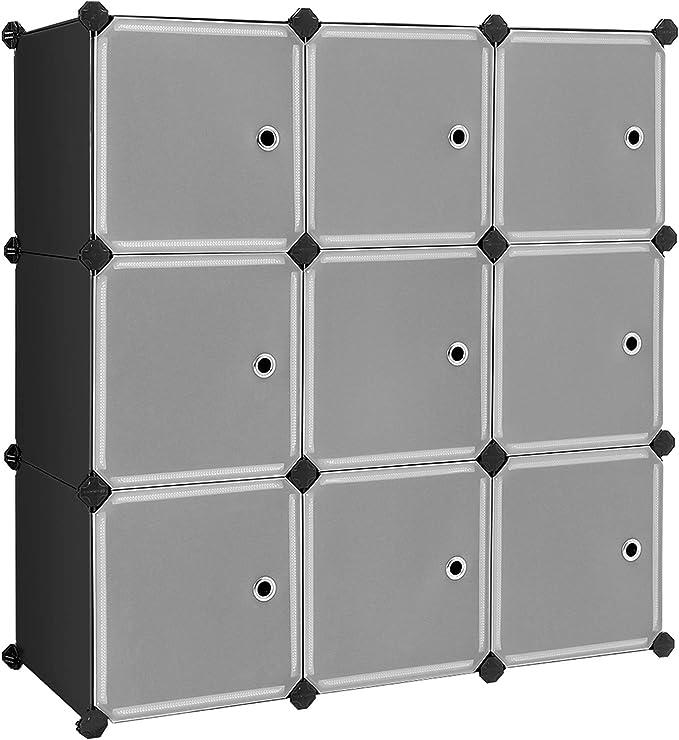 SONGMICS Estantería Modular, Armario Modular de 9 Cubos, Estantería de Plástico con Puertas, para Zapatillas, Ropa, Juguetes, Libros, Fácil de Montar, Negro LPC116HS: Amazon.es: Hogar