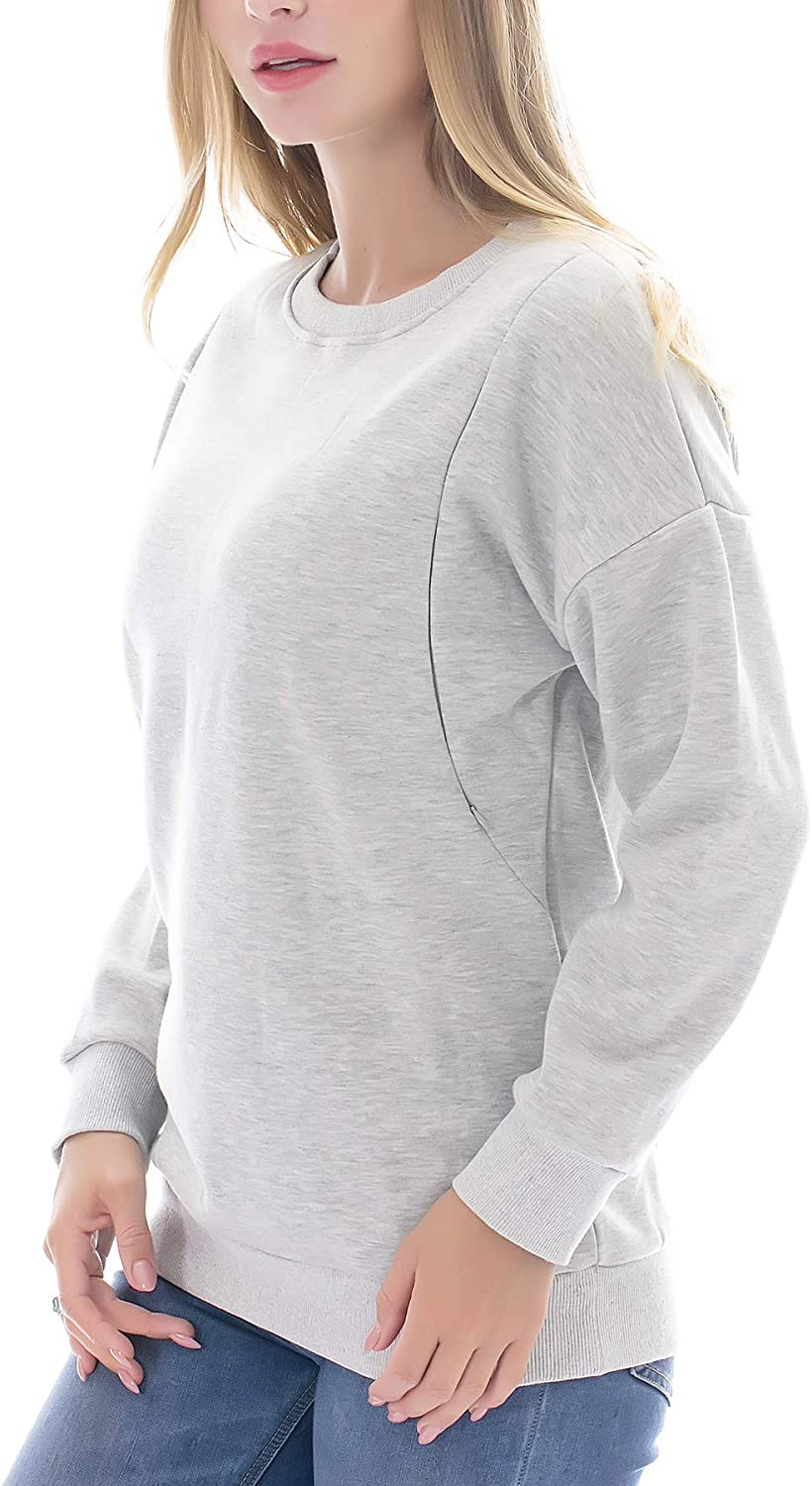 Smallshow Fleece Maternity Nursing Sweatshirt Long Sleeve Breastfeeding Tops