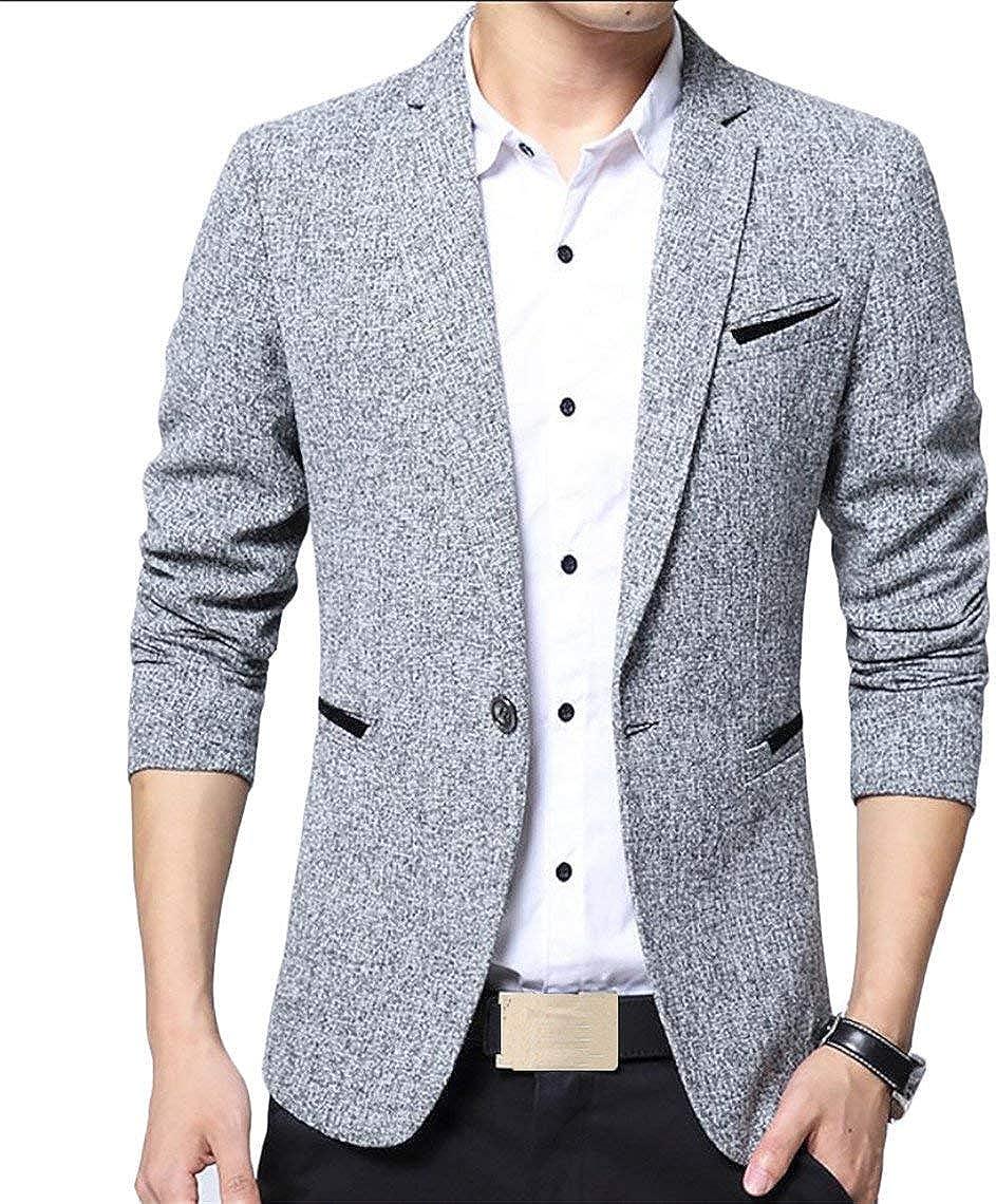 Blazer pour Hommes Slim Fit Vestes pour Hommes V/êtements Revers Manches Longues Costume Vestes 1 Bouton Automne Business Fashion Blazer Hommes Men Basic Casual