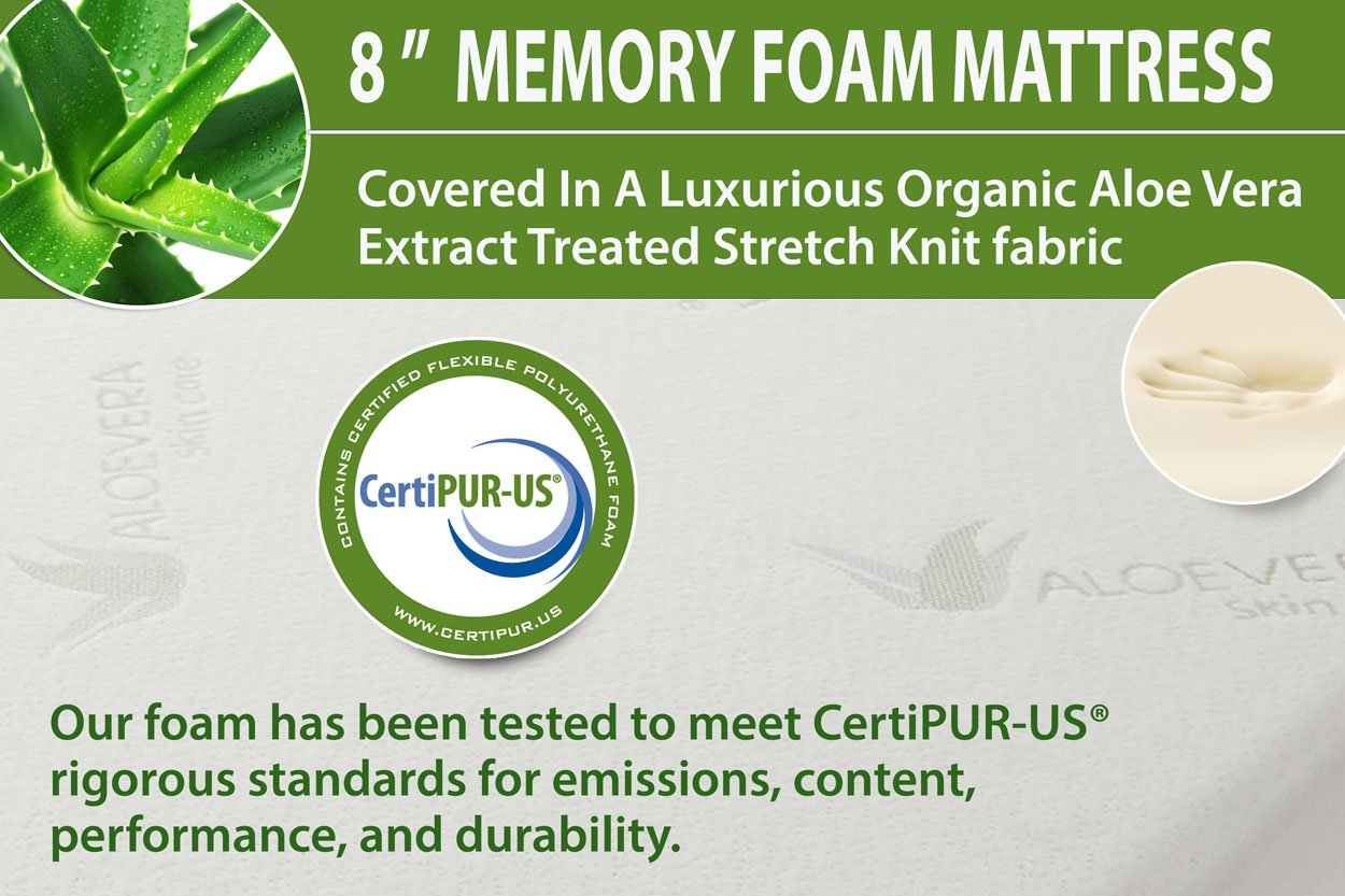Amazon.com: New 8-Inch Memory Foam Mattress with CertiPUR-US Certified Foam, (Eastern King Size) with Aloe Vera Cover: Kitchen & Dining