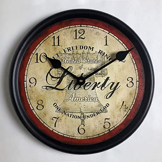 Liberty Wall Clock, Available in 8 Sizes, Most Sizes Ship The Next Business Day, Whisper Quiet.