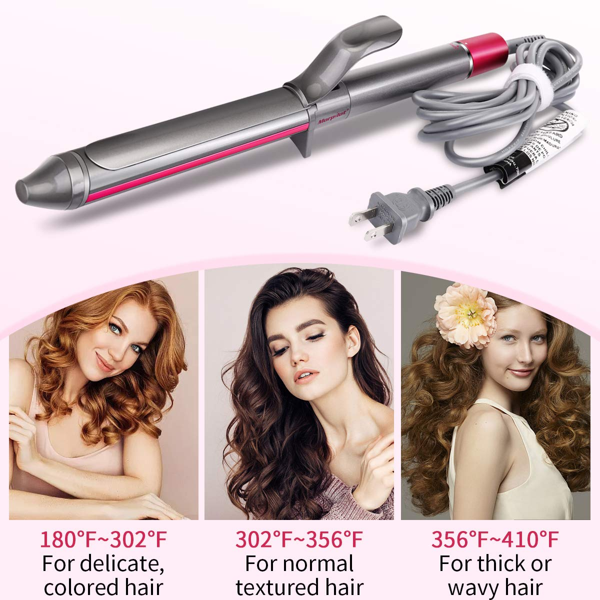Curling Iron, Morpilot Hair Curler 32mm Automatic Hair Curling Wand with Anti-scalding Insulated Tip, Ceramic Technology with LCD Temp Display Dual Voltage Include Heat Resistant Glove