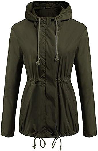 Bifast Womens Waterproof Lightweight Hooded Windbreaker Drawstring Outdoor Raincoat Jacket