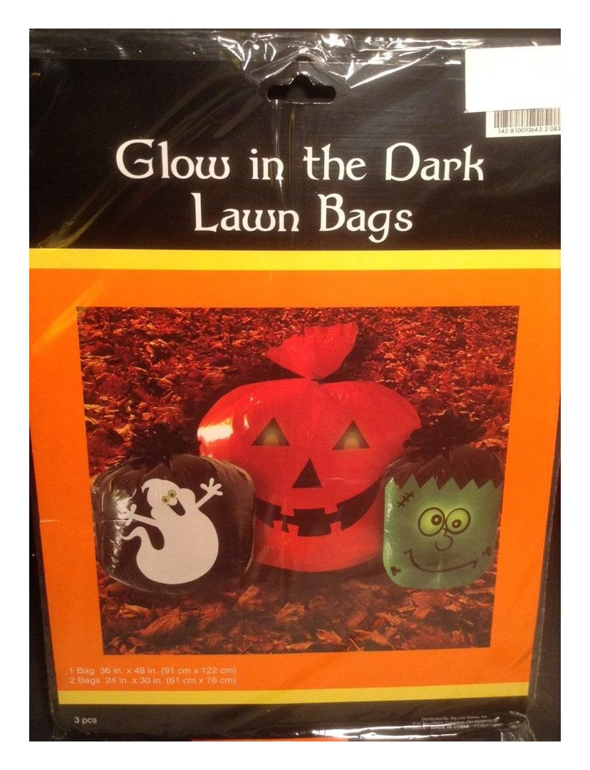 NEW 3 Glow In The Dark Halloween Lawn Leaf Bags, Pumpkin, Ghost, Frankenstein FROM US