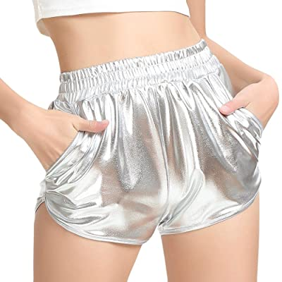 Meikosks Ladies Shiny Metallic Pants with Pockets Leggings Shorts High Waist Yoga Sport Pants at Women's Clothing store