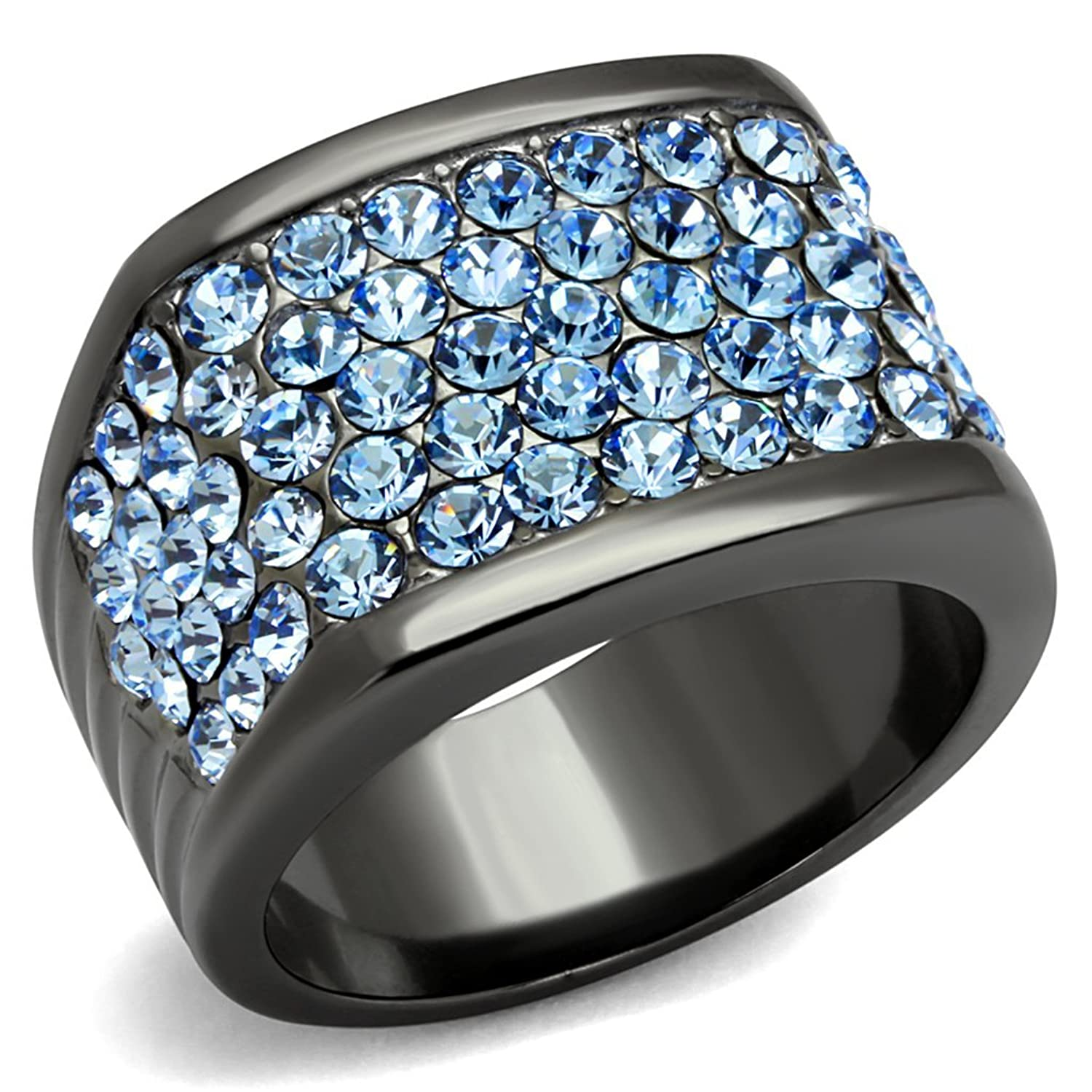 Women's Light Blue Crystal Pave Ip Light Black Stainless Steel Cocktail Ring