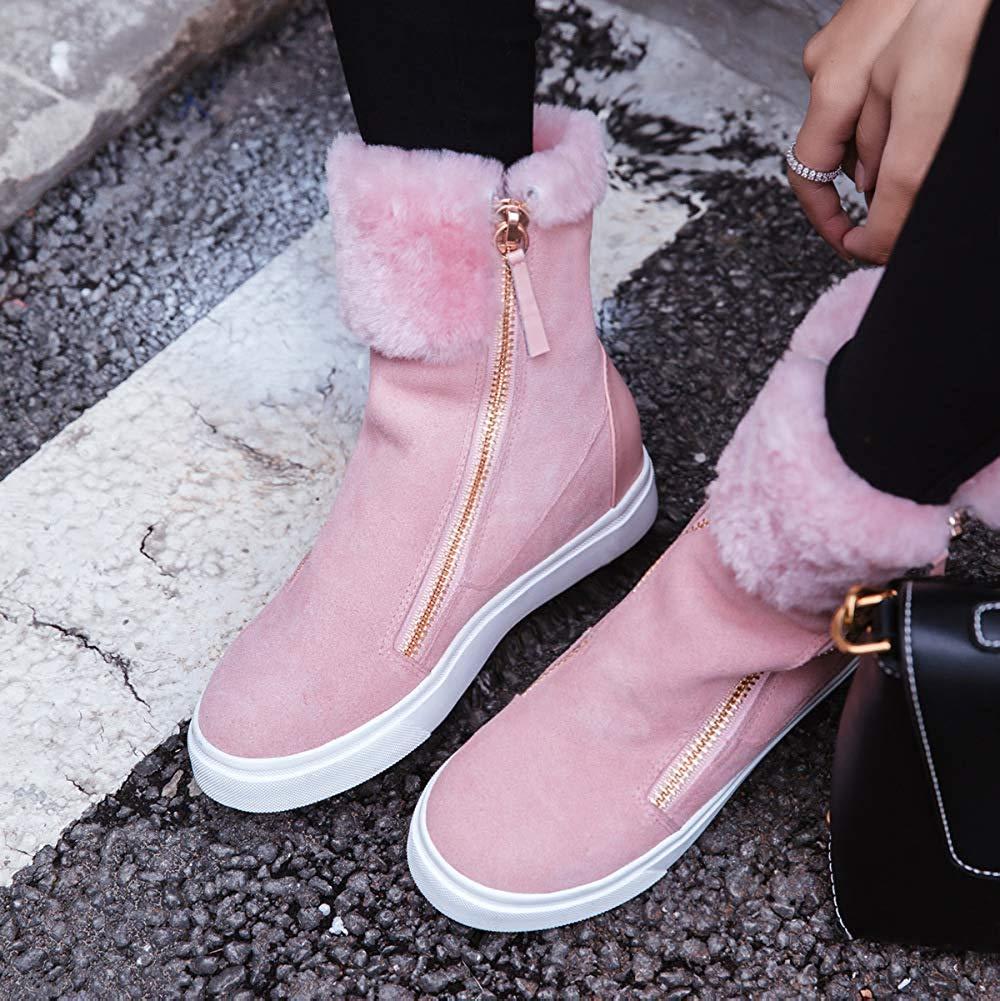 Qiusa Frauen Plus Samt Heel Karte High Heel Samt Schnee Stiefel Freizeitschuhe (Farbe   Rosa Größe   35EU) ee7613