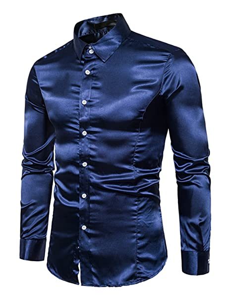 best loved fd5c0 b59cd Boom Fashion Uomo Camicie Slim Fit Moda Manica Lunga Camicia Elegante Tops